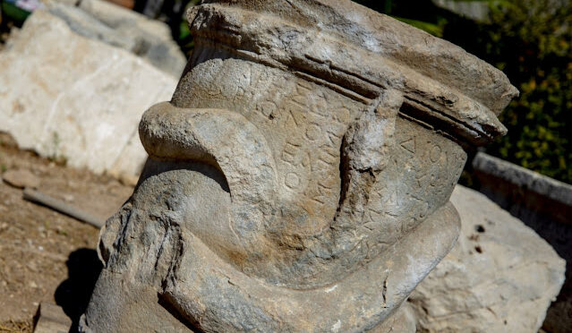 2,000-year-old snake-figure altar unearthed in the ancient city of Patara in southern Turkey