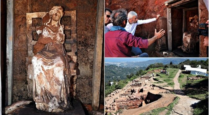 A 2,100-year-old statue of Cybele the Anatolian mother goddess unearthed in northwestern Turkey