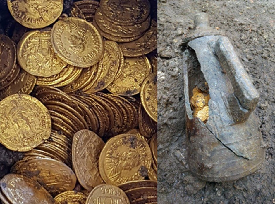Roman treasure discovered by chance: Hundreds of ancient gold coins hidden for centuries