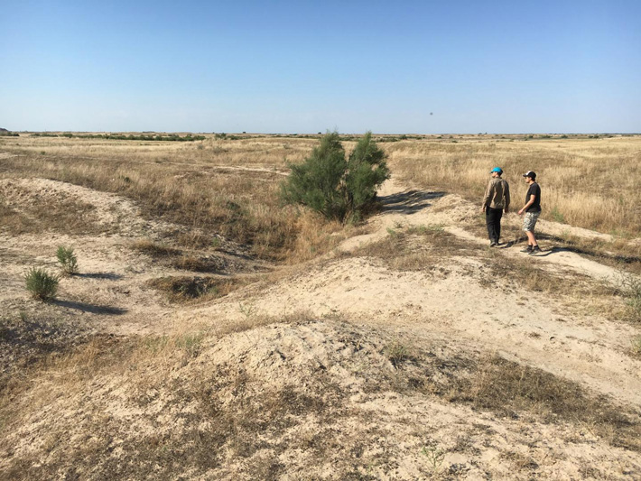 Researchers investigate an abandoned medieval canal, Otrar oasis, Kazakhstan.
