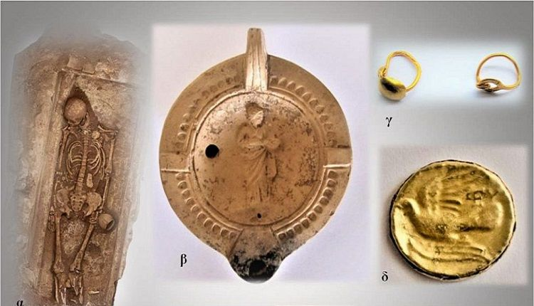 Findings from burials during Hellenistic and Roman times including bones, jewelry and pottery.