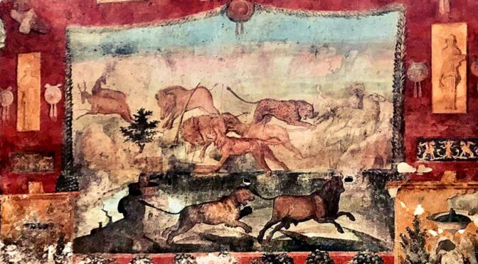 Lasers removed stains on a fresco in Pompeii's House of the Ceii