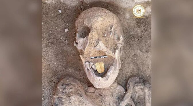 Ancient mummy with golden tongue found in Egypt