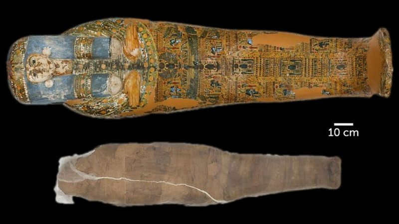An ancient Egyptian mummy was wrapped in an unusual mud shell