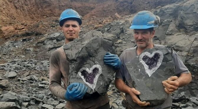 Amazing Heart-Shaped Amethyst Geode Discovered by Miners in Uruguay