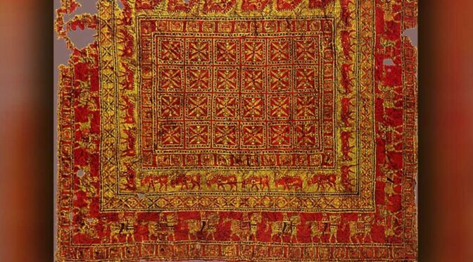 The 2,50-year-old rug is a wonderful reflection of the Advanced Culture of the Pazyryk Nomads