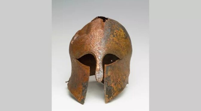 The ancient helmet was worn by a soldier in the Greek-Persian wars found in Israel