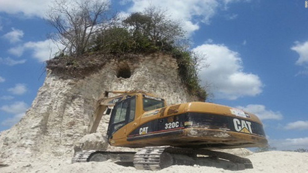 Ancient Mayan pyramid destroyed in Belize by the construction company