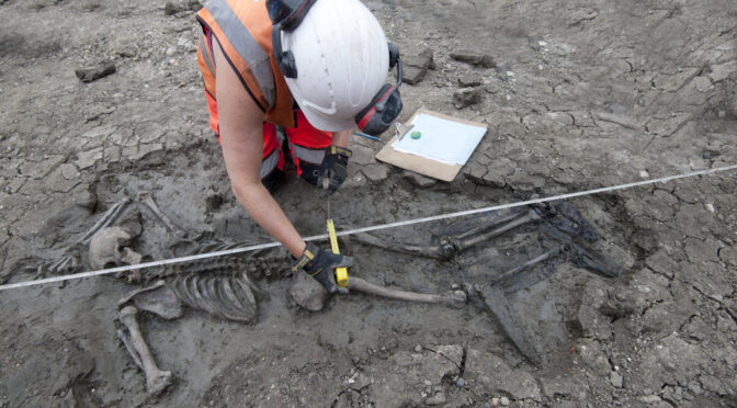 Archaeologists discover a medieval skeleton with his boots still on in London