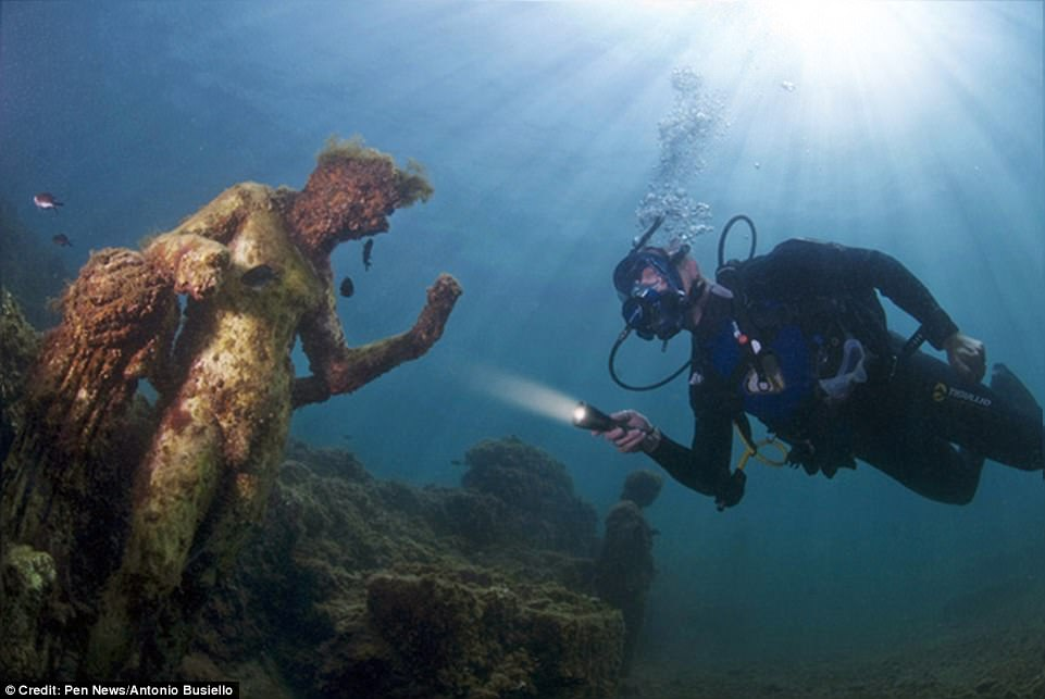 The sunken Roman city now lies beneath the waves off of Italy