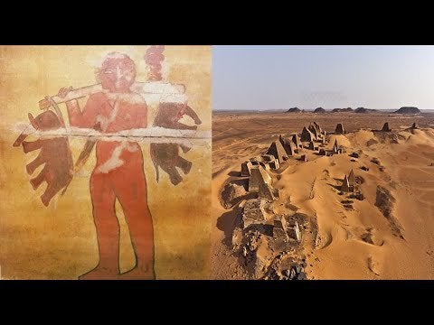 Ancient wall painting in the Nubian pyramids depicting a Giant carrying two elephants