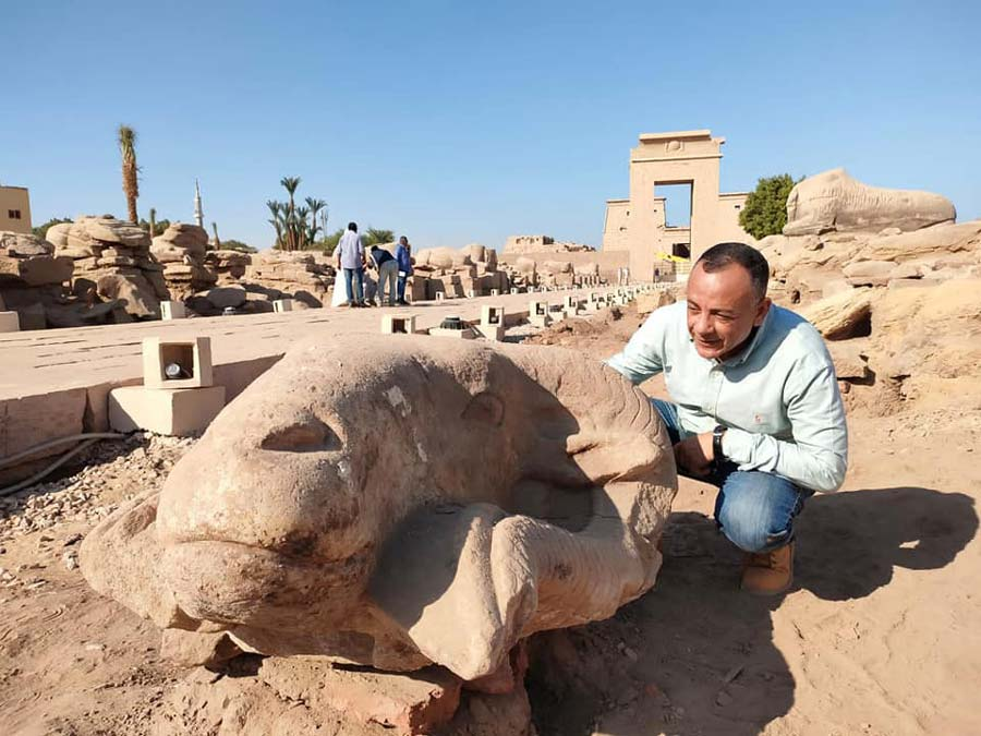 Giant ram head statues found on 'Avenue of Sphinxes' in Egypt