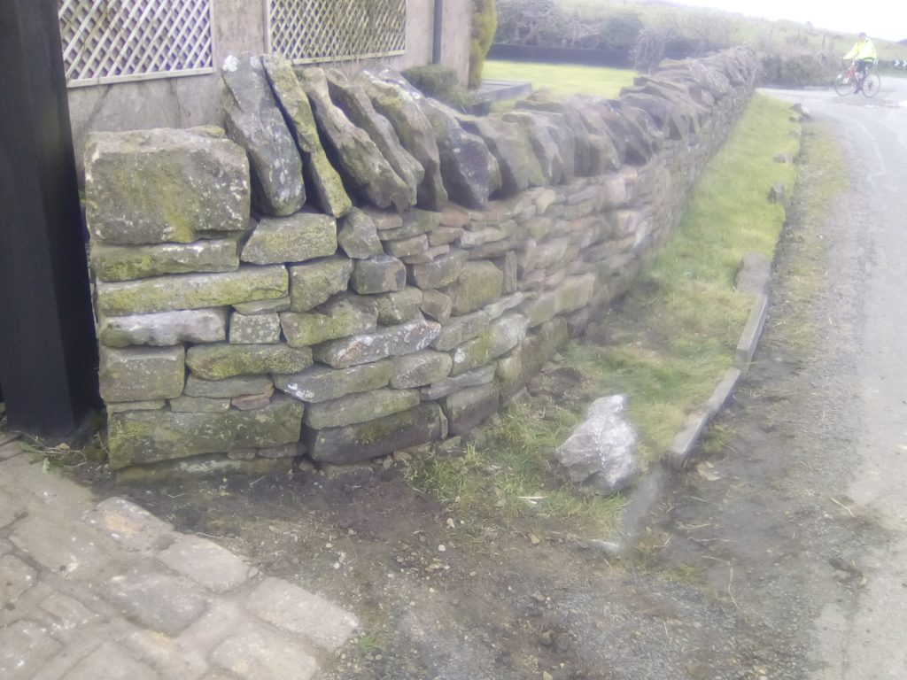 the repaired wall in Longridge. After pic