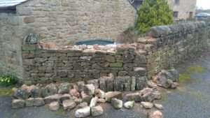 Dry stone wall repair near Longridge (Feb 2019)