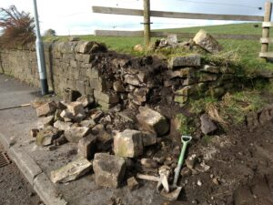 Insurance dry stone wall - before photo