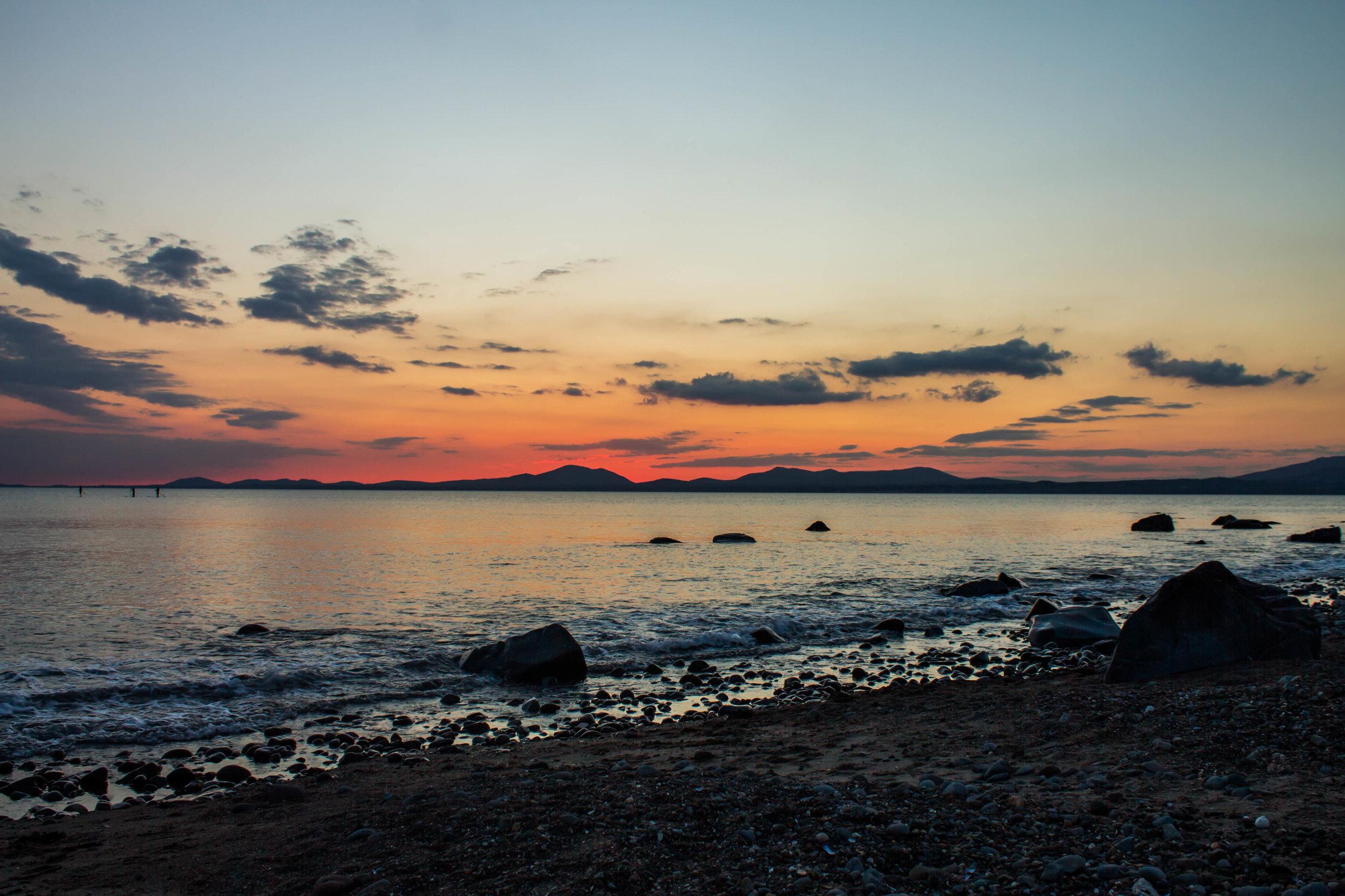 Harlech beach at sunset