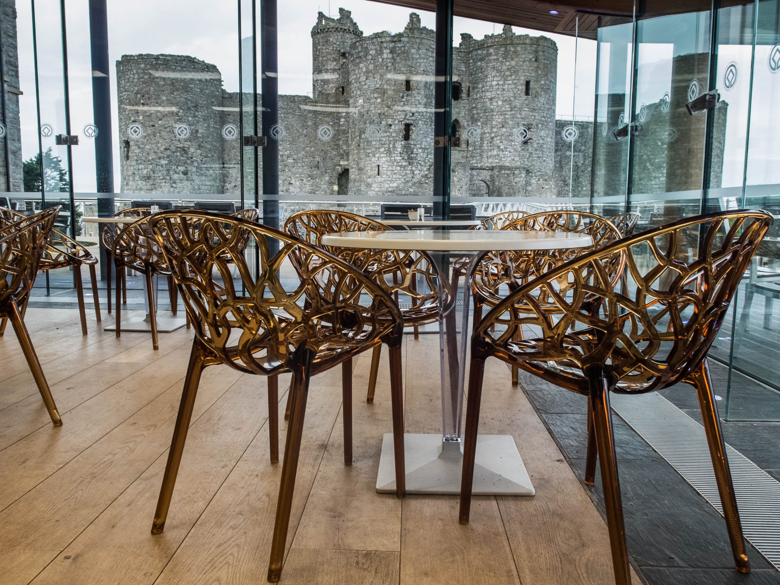 inside Caffi Castell, with views of Harlech castle and Snowdonia