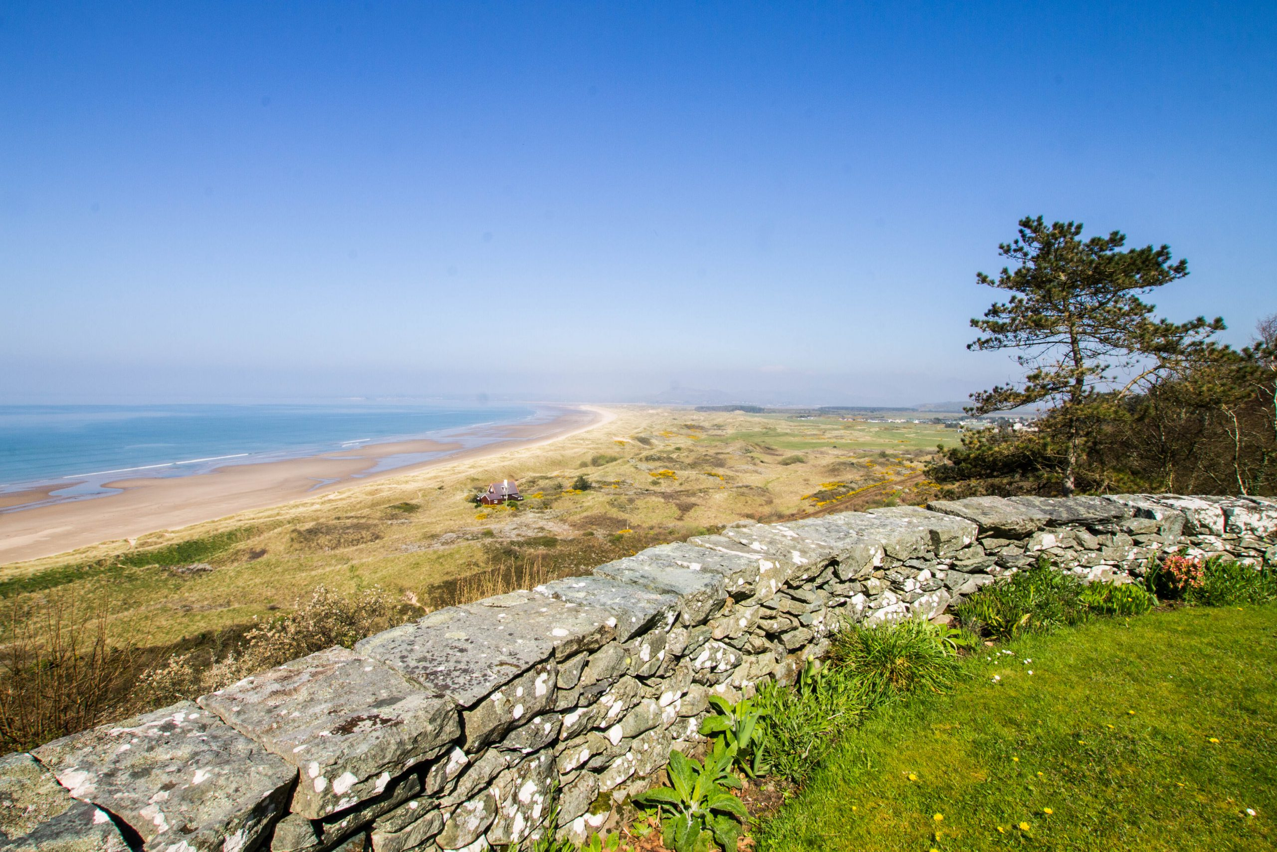 View of Harlech beach from the top of the Zig Zap path