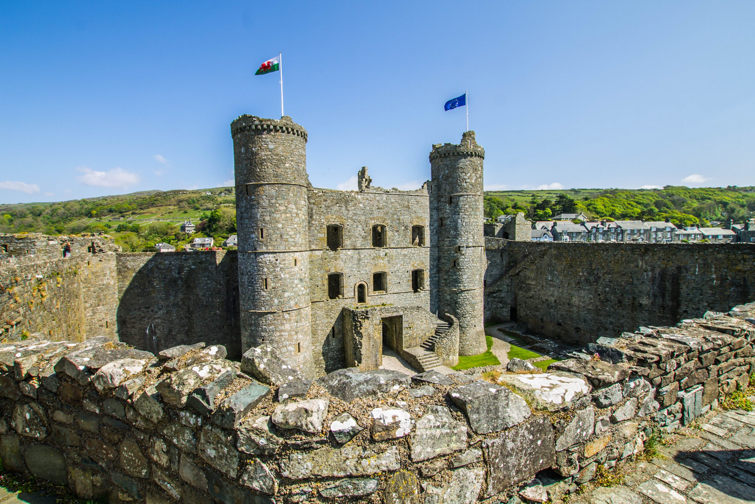 inside Harlech castle from the battlements