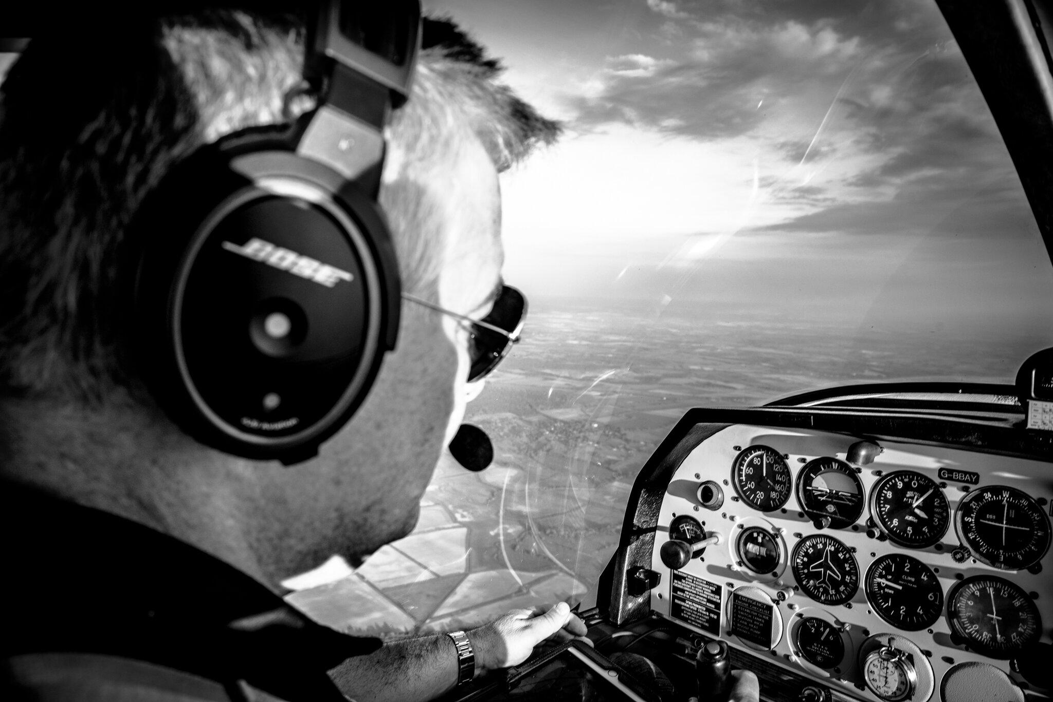 photo inside the cockpit of a Snowdonia flight school aircraft