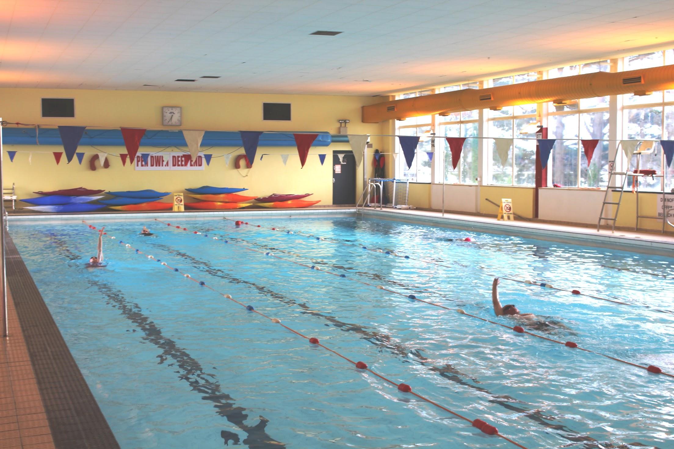Inside Harlech swimming pool