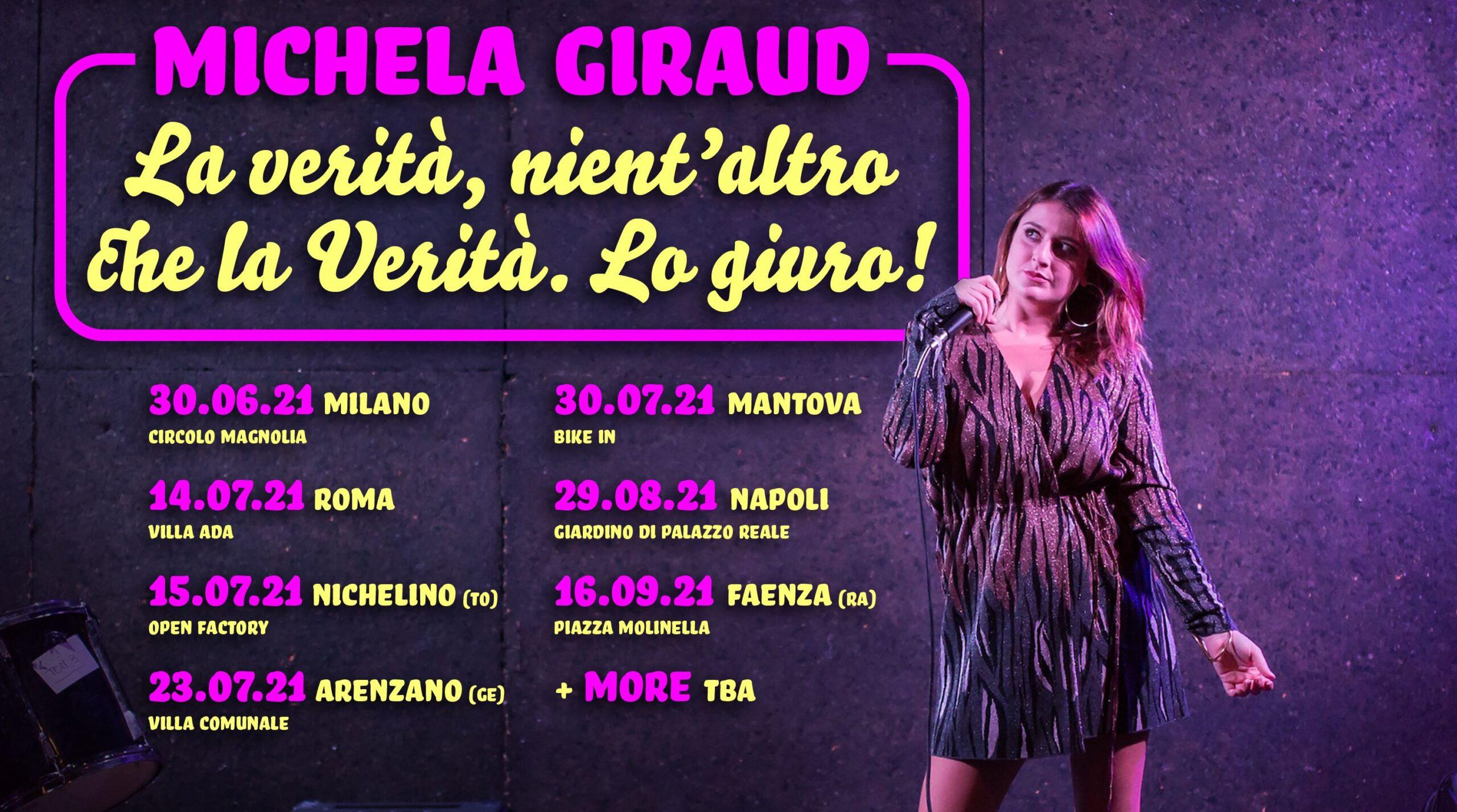 """Michela Giraud: annunciate le date dello spettacolo """"La Verità, nient'altro che la verità lo giuro!"""""""
