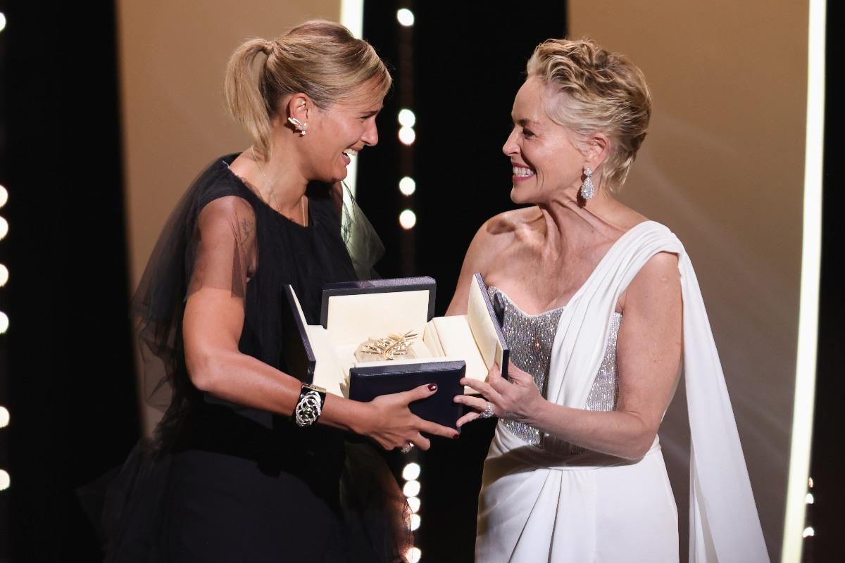 Cannes 2021, Julia Ducournau e Sharon Stone (Getty Images)