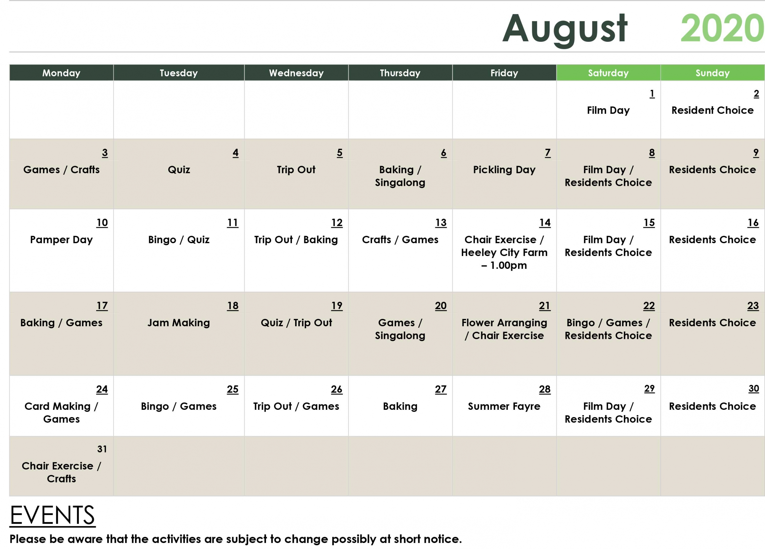 August Care Home Activities