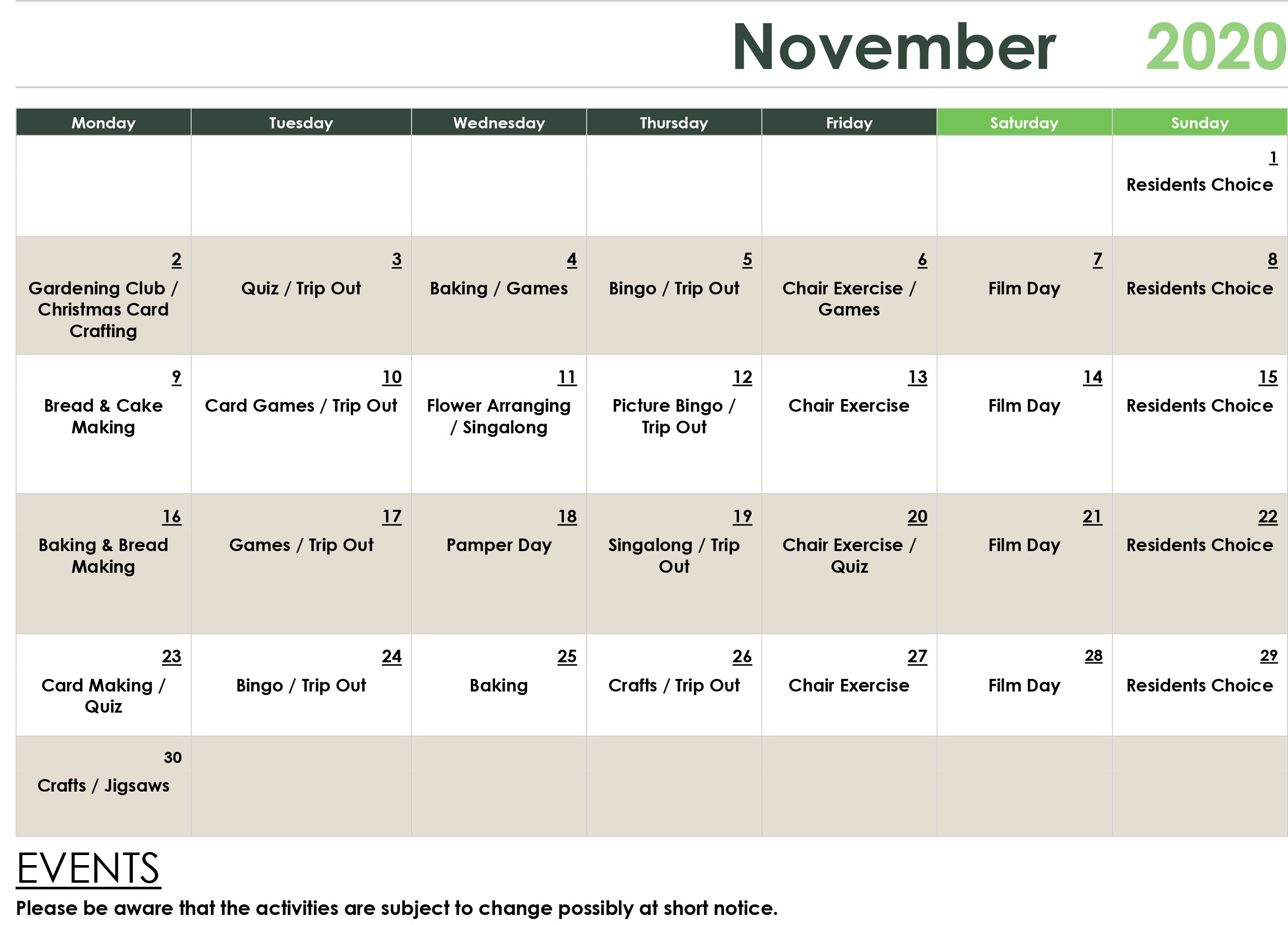 November Care Home Activities