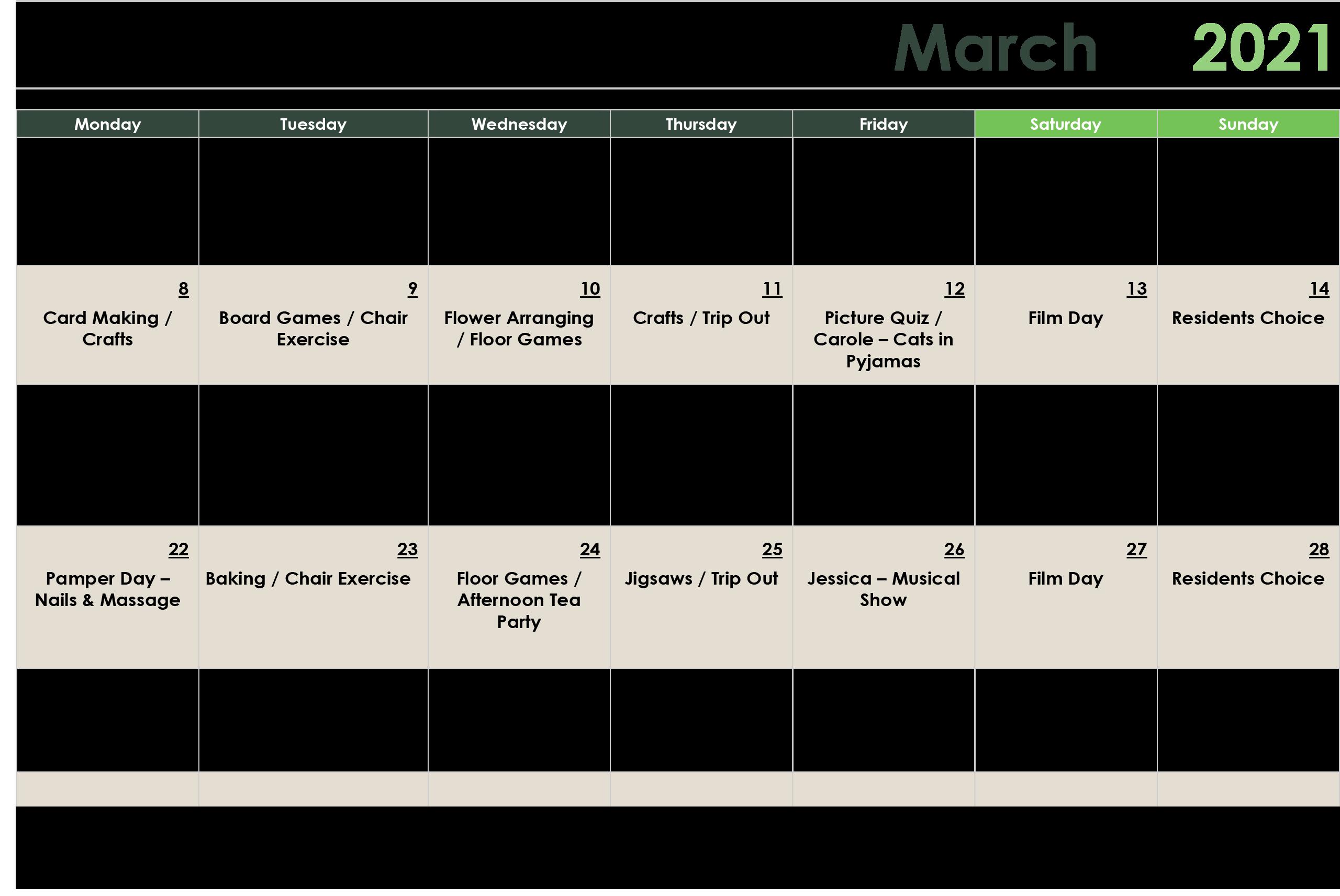 March Activity Calendar 2021