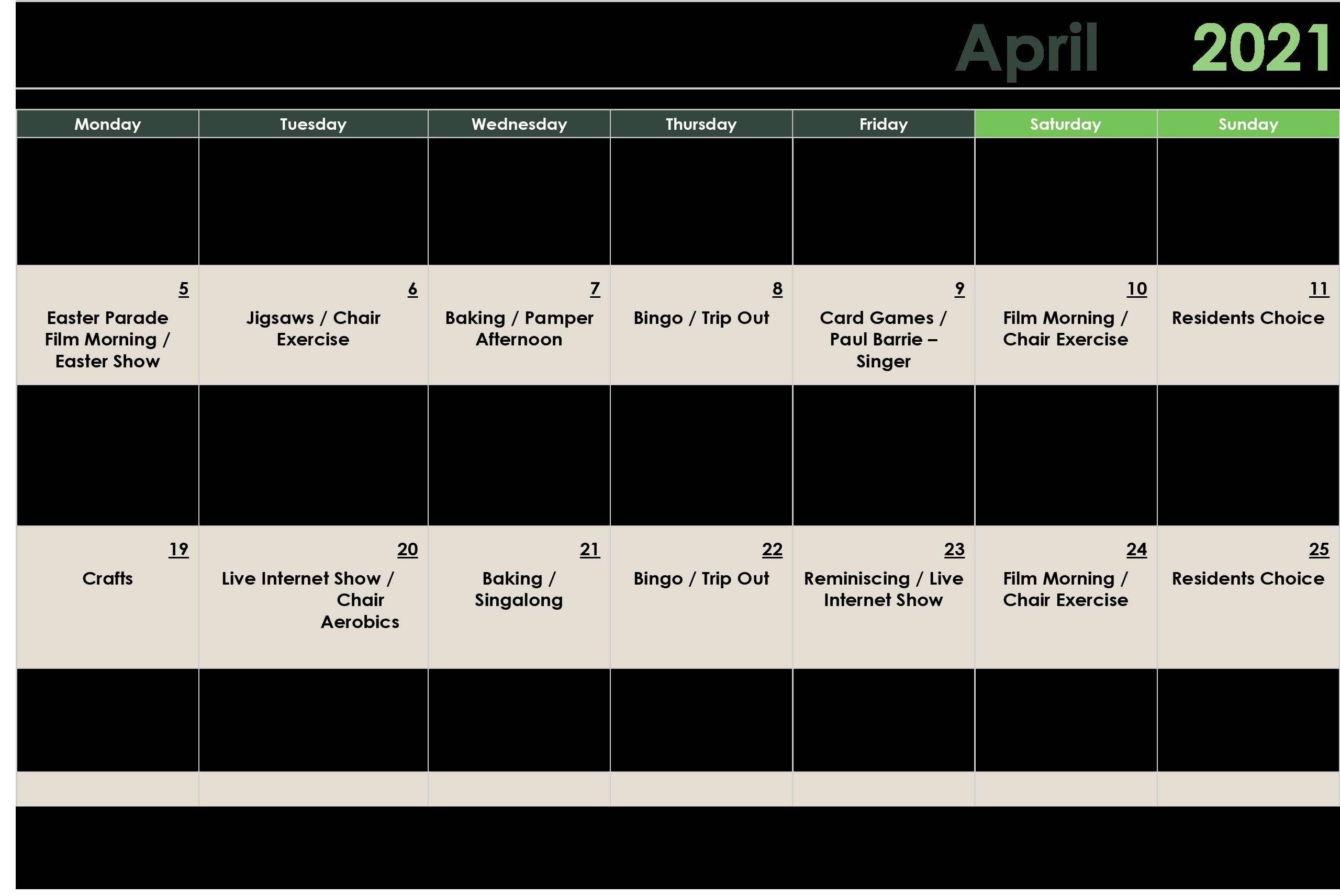 April 2021 Activity Calendar