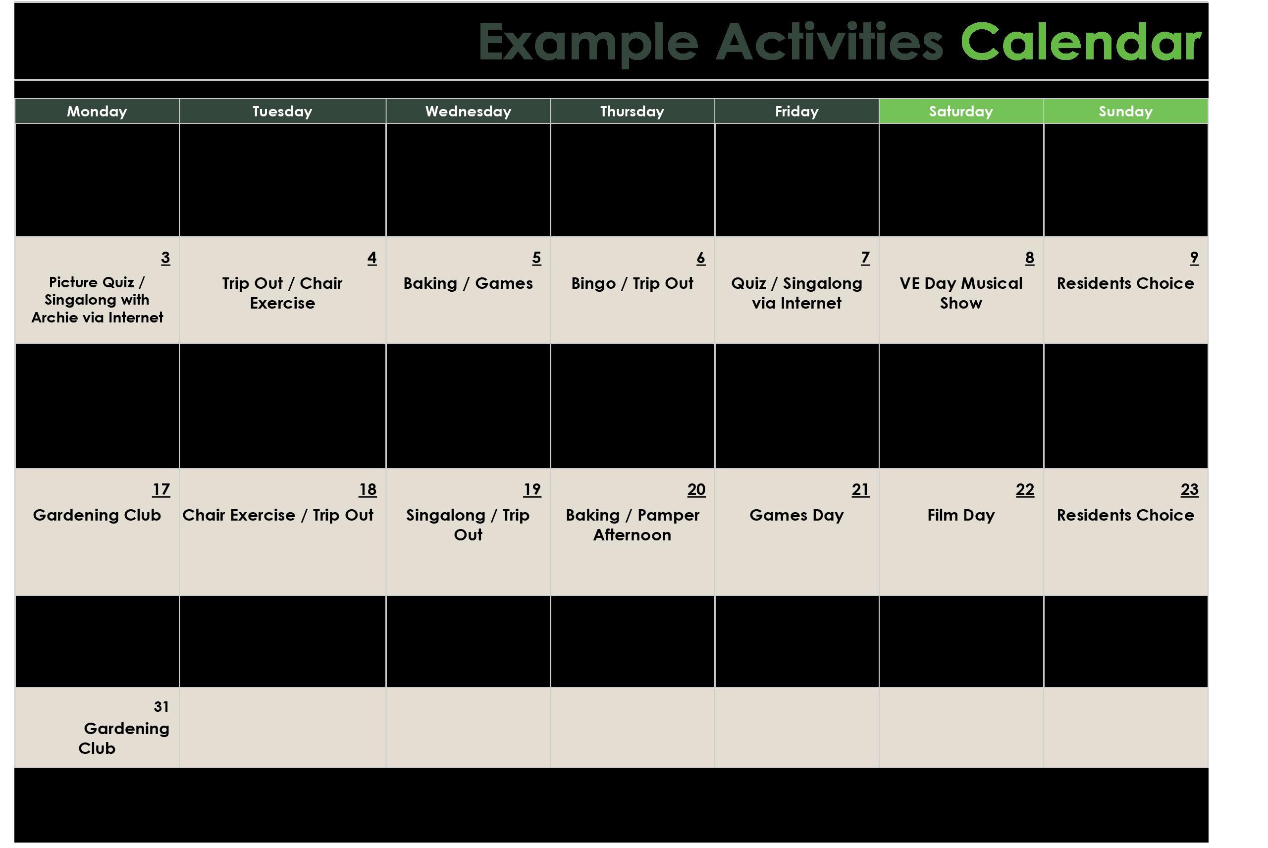 example care home activities calendar
