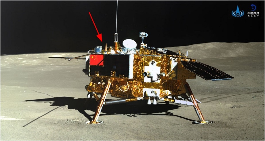 The image moon lander on moon surface, The of Photo lander credit: Chinese National Space Agency (CNSA) and National Astronomical Observatories of China (NAOC) (Lunar Radiation)