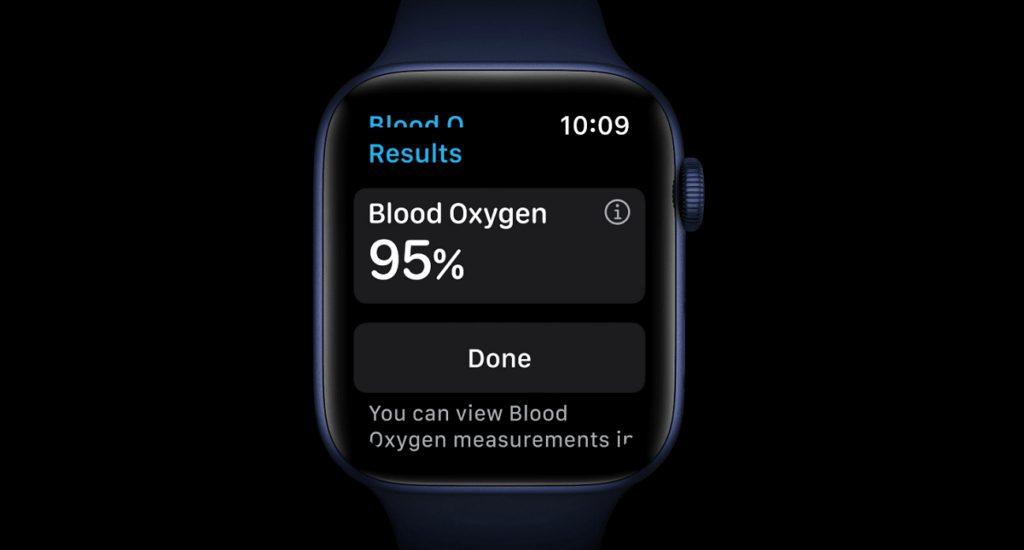 The new blood oxygen measurement feature on series 6