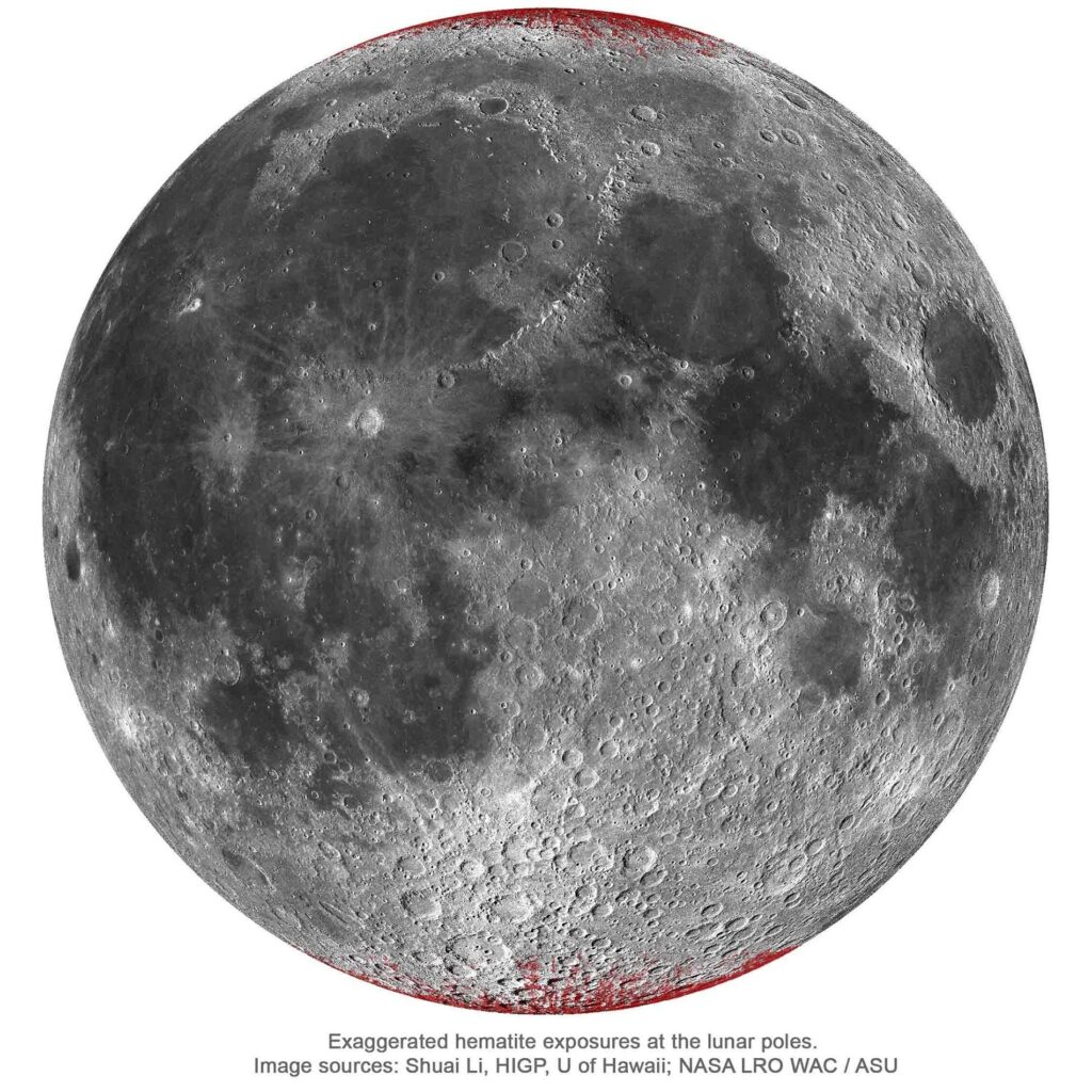 The image shows the Moon is rusting at poles.