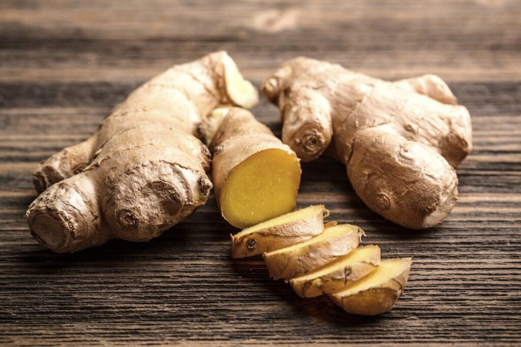 the image contain ginger.  (Foods that boost immunity.)