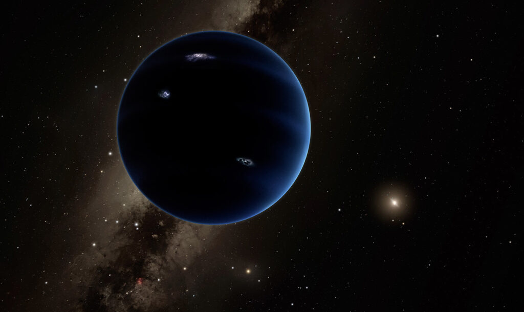 image shows the artist illustration of the planet x