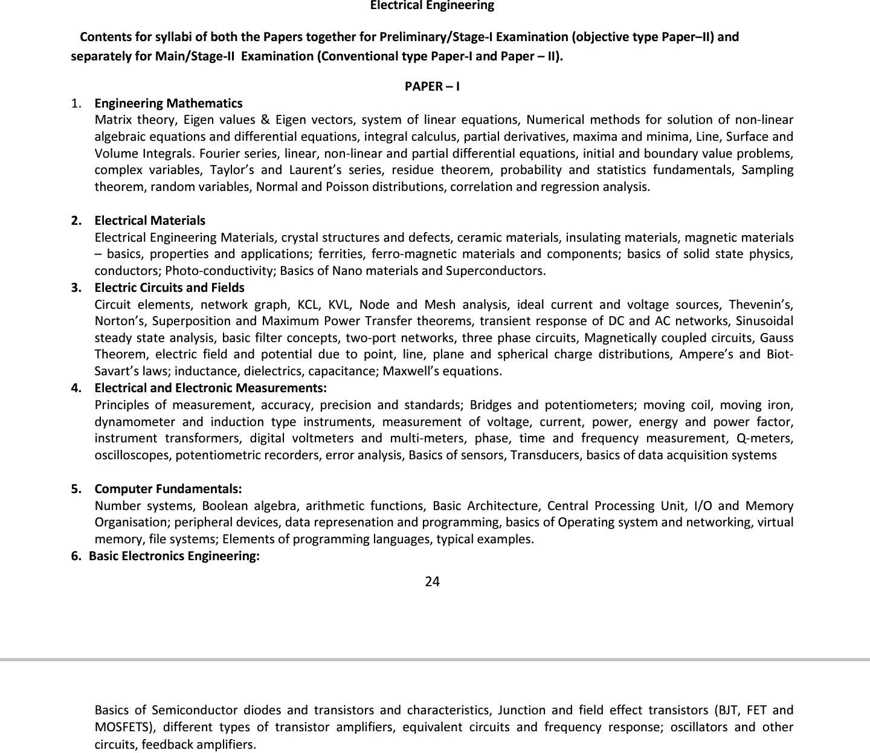 UPSC IES 2021 SYLLABUS ELECTRICAL