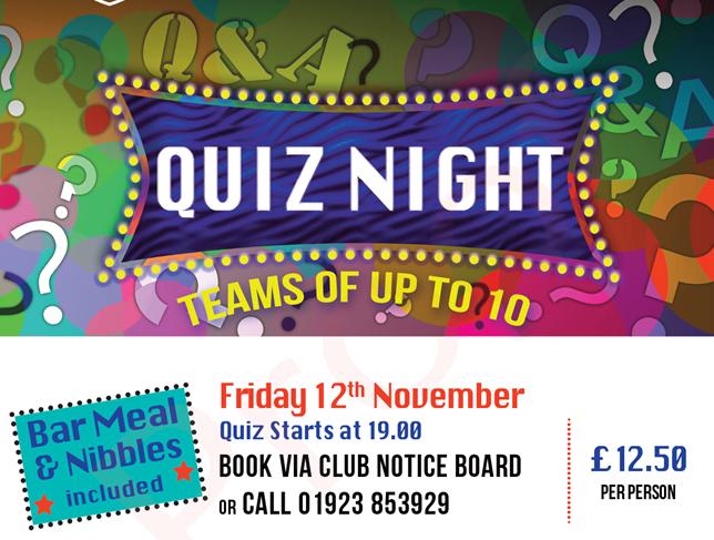 Quiz Night – Friday 12th November