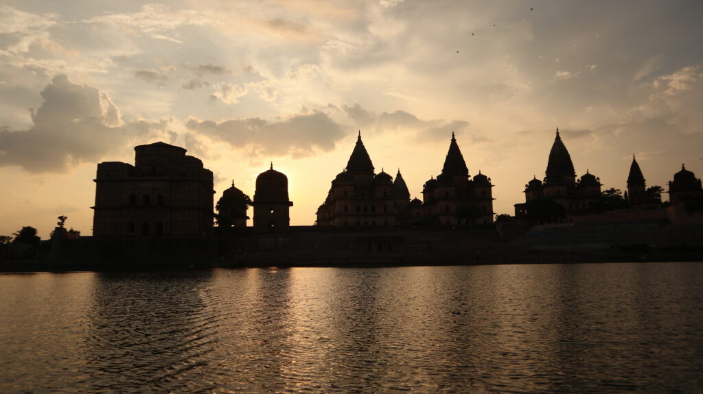 Chhatris on the bank of the Betwa River - Orchha