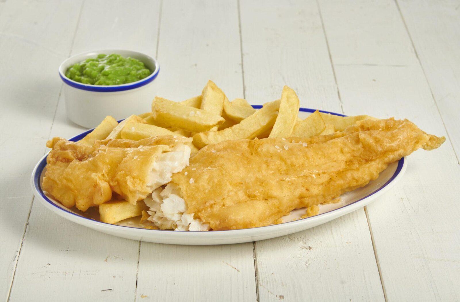 large cod mushy peas cut