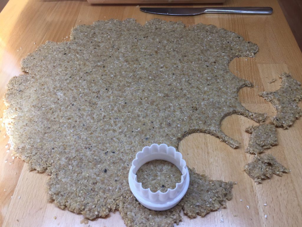 Cutting out the oatcakes