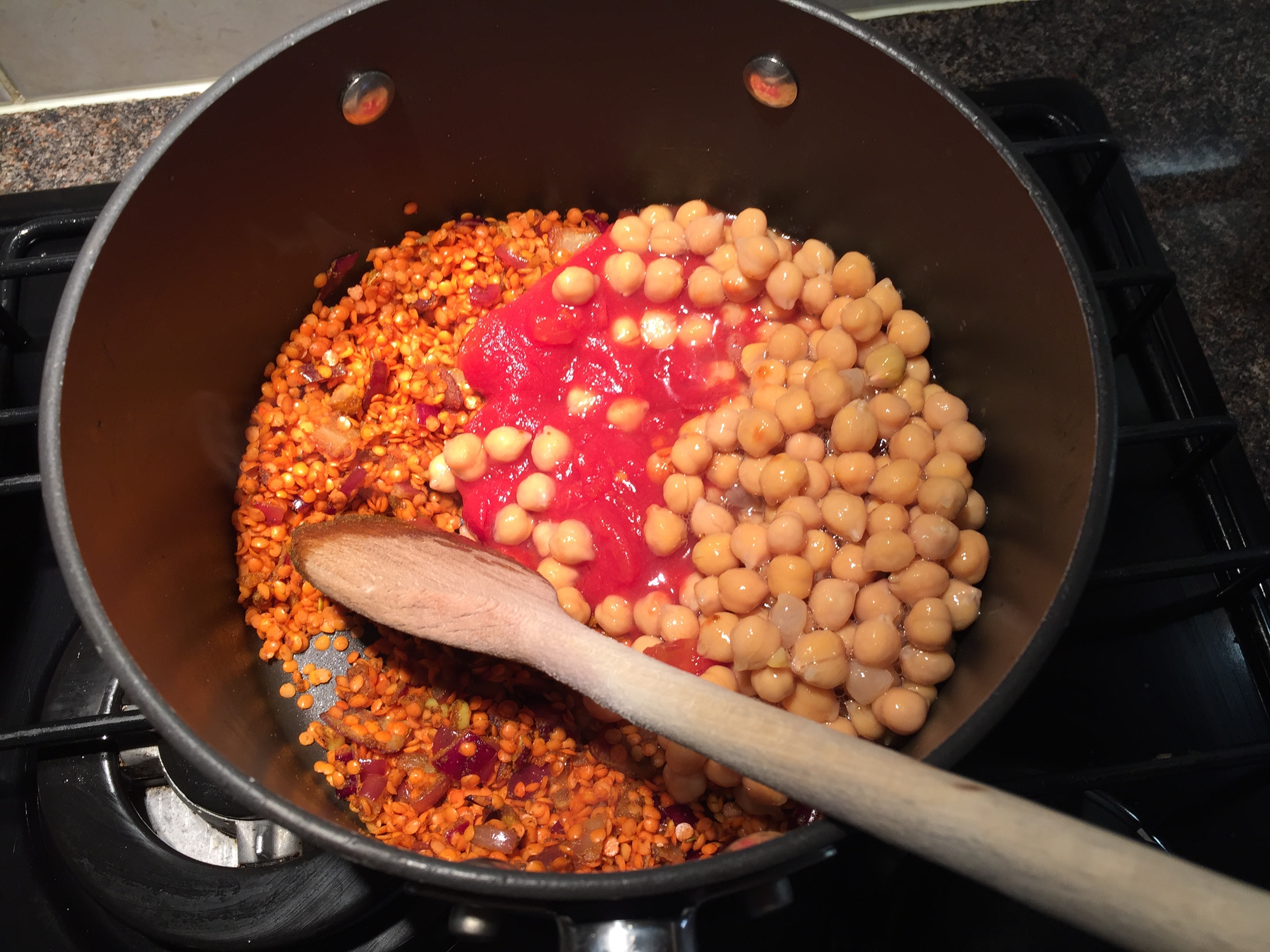 With the chickpeas and tomatoes