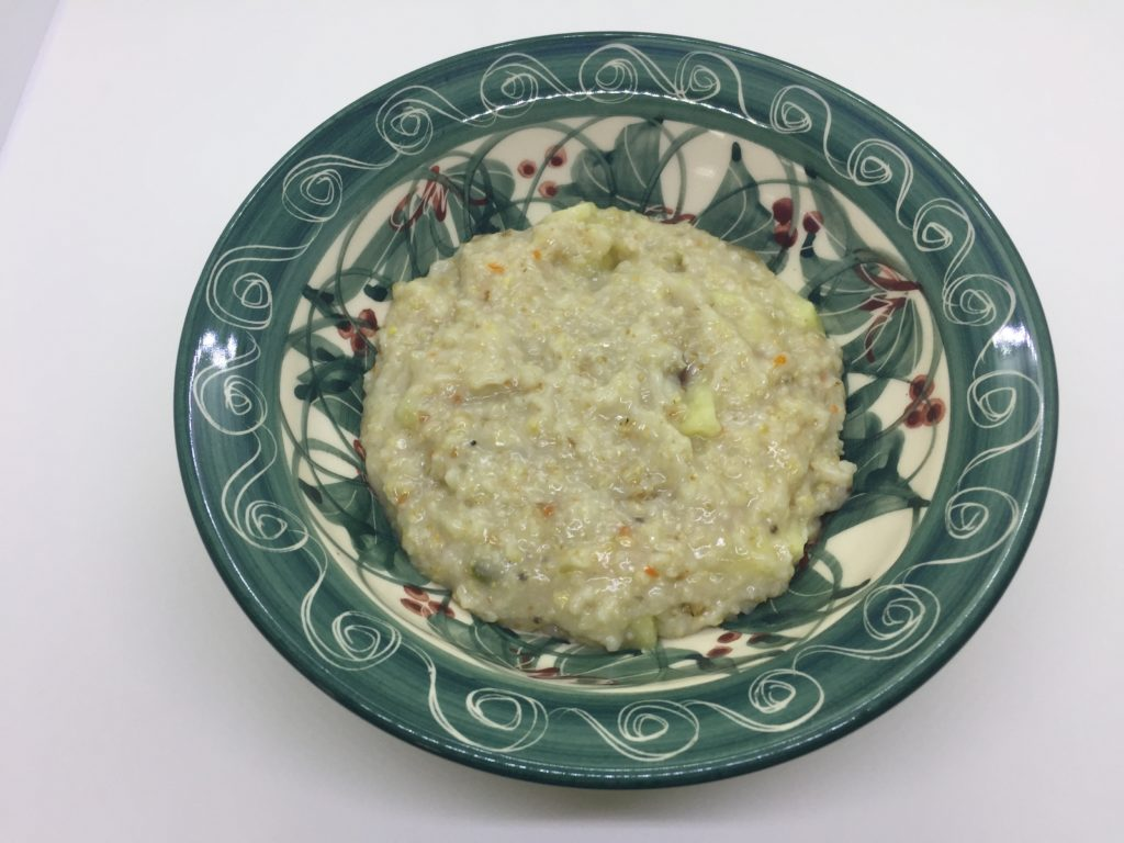 Cooked porridge served in a lovely Crail Pottery bowl