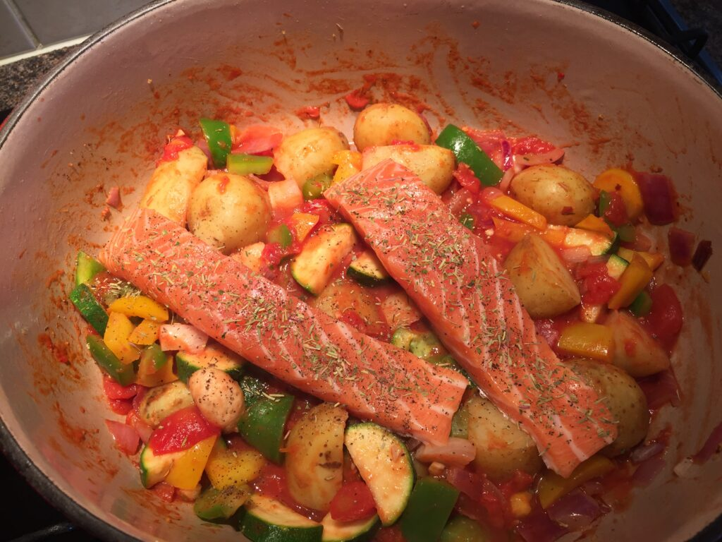 Potatoes and fish added
