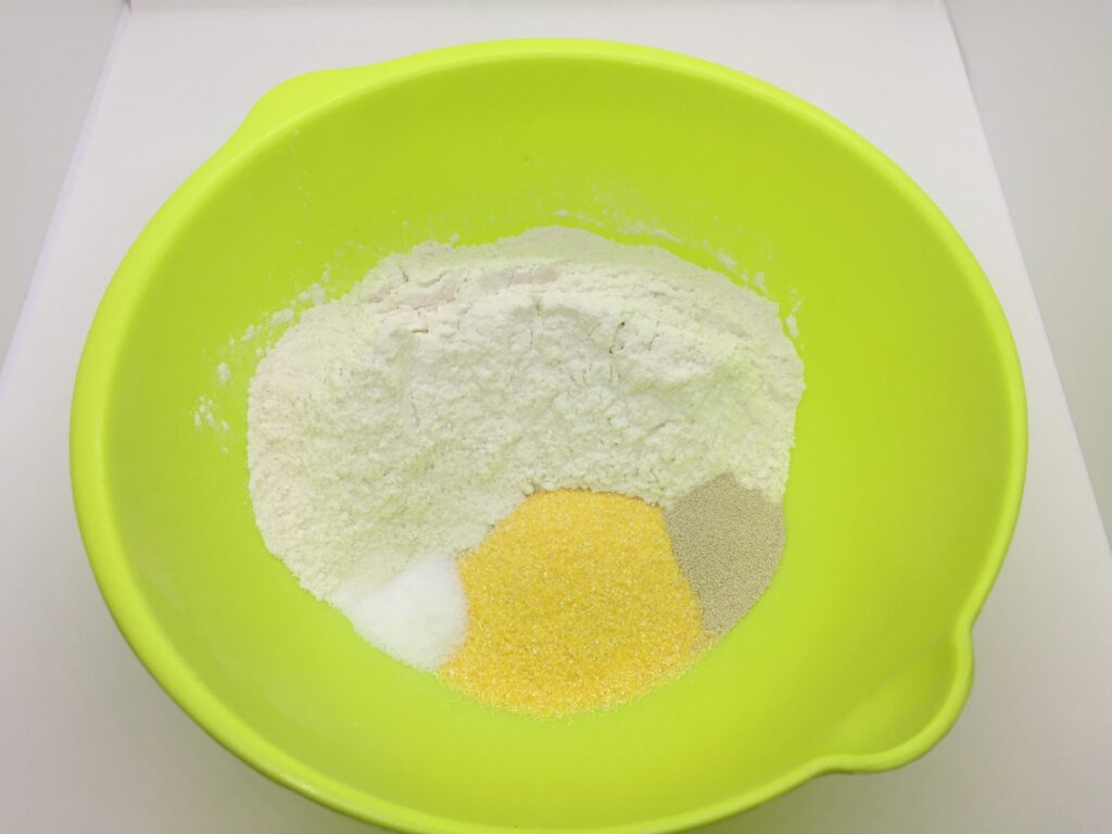 Dry ingredients in the bowl