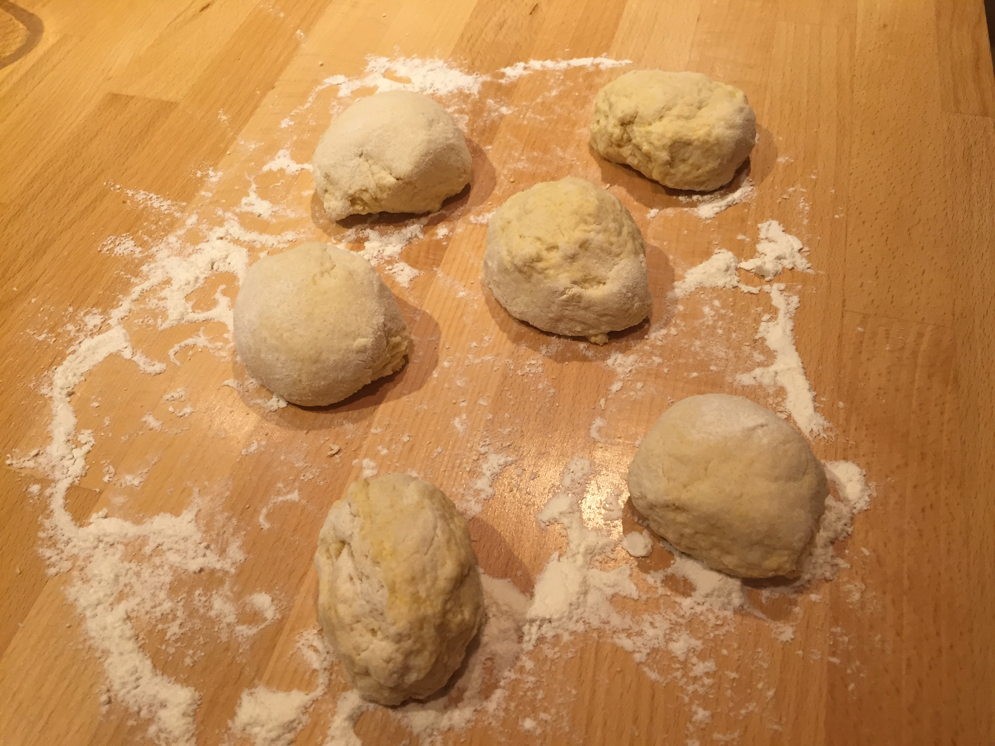 Dough divided up
