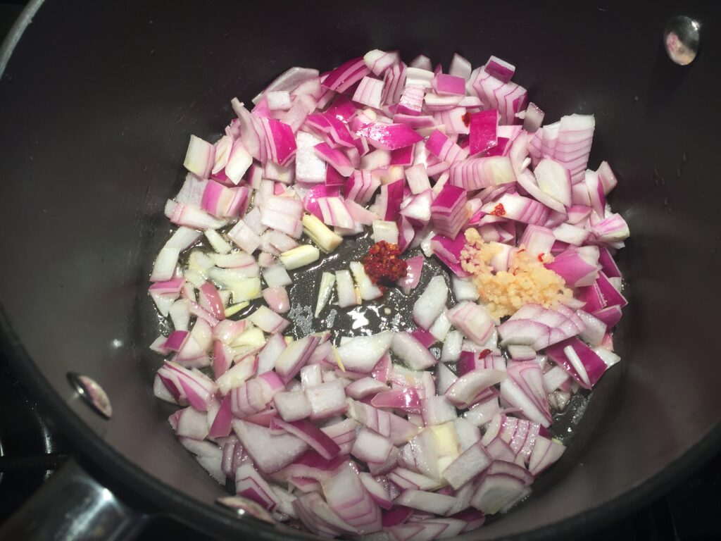 Fry the onion, garlic and chilli
