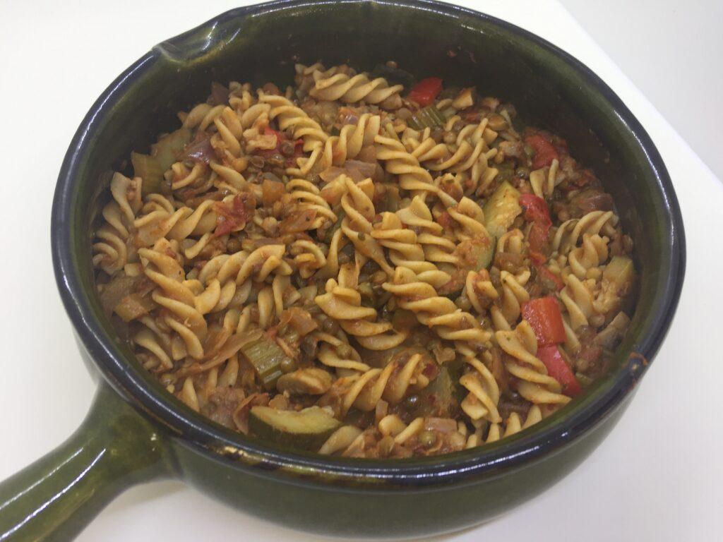 Mix the sauce and pasta