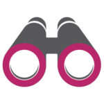 Audit marketing icon with pink binoculars